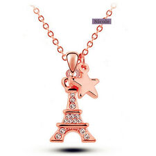 18K Rose Gold Plated Crystal Eiffel Tower Pendant Necklace NF82 w/GB