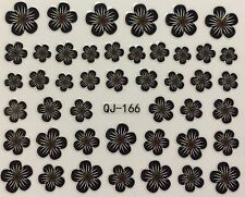 Nail Art 3D Decal Stickers Black & White Flowers QJ-166