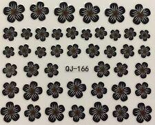 Nail Art 3D Decal Stickers Black & White Flowers QJ-166