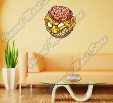 "Zombie Yellow Head Brain Scary Gift Wall Sticker Room Interior Decor 22""X22"""