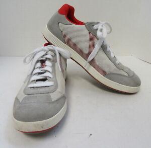 PRADA Men's Red and Grey Sneakers Size 6