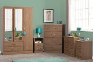 Nevada Rustic Oak Bedroom Range Bedside Chest of Drawers Mirrored Wardrobe