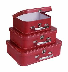 Soul & Lane Paperboard Suitcases Boxes (Set of 3, Distressed Red)