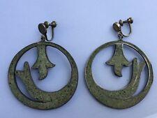Vintage Old Taxco Mexico Sterling Silver 925 LARGE Hoop Inlay Screw ons Earrings