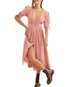 FREE PEOPLE PINK  LOVE OF MY LIFE MIDI DRESS (UK 10) RRP £188