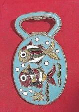 "Enamel Bronze Fish Bottle Opener VTG Light Blue Multi 3"" x 2"" Cloisonne Souvenir"