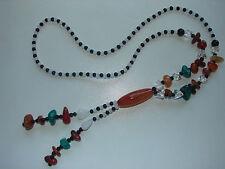 alte, lange Y-Kette, Glasperlen und Halbedelsteine
