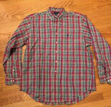 RALPH LAUREN Polo Horse CLASSIC FIT Red Plaid Men Button Up Shirt Sz XL 17.5 #c1