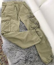 RARE WOMENS ARMY CARGO PANTS BEADS POCKETS COTTON MADE IN ITALY SZ 28