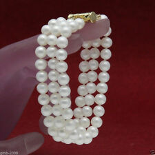 """New 3 Rows 7-8mm Genuine Natural White Freshwater Pearl Bracelet 7.5""""AAA"""