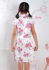 bonito floral niña CHINOS Vestido en rosa, blanco 18 meses a 7 años