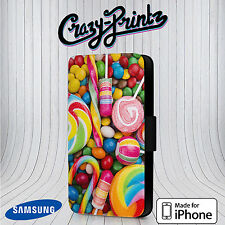 Sweets Candy Sweeties Lollipops Phone Cover Leather Flip Case B85