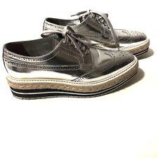 PRADA Platform Derby Oxford Metallic Lace Up Women's Shoes| Sz 8
