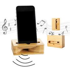 Wood Bamboo Phone Holder Sound Speaker Amplifier Desk Dock Docking Phone Stand