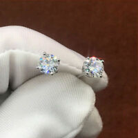 14K White Gold finish 2Ct Round Cut Diamond VVS1/D Solitaire Stud Earring