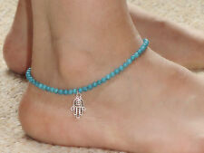 Women Hamsa Hand of Fatima Beach imitation Turquoise Beads Sandals Foot Anklets