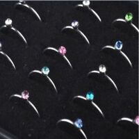 40Pcs/Box Colorful Crystal Stainless Steel Nose Stud Ring Body Piercing Jewelry