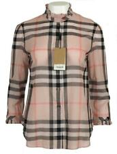 NEW BURBERRY CURRENT VINTAGE PINK CHECK RUFFLE TRIM COTTON BLOUSE SHIRT 36/2
