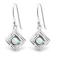 TJS Genuine 925 Sterling Silver Earrings Hook Square Dangle Fire Snow Opal