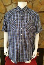Ely Cattleman Short Sleeve Pearl Snap Light Blue Beige Mens Western Shirt 2XLT