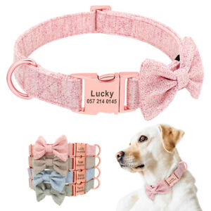 Personalised Dog Tweed Bow Tie Collar with Metal Buckle Pet Name Engraved D-ring