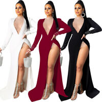 NEW Women's Sexy Deep V Neck High Slit Long Sleeves Cocktail Party Maxi Dress