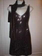 NWOT Victoria's Secret Hugo Buscati Brown Sequin  Dress With Matching Scarf!