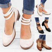 Women's Ladies Ankle Strap Zip Block Midi Heels Summer Party Work Casual Shoes