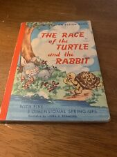 Vintage 1950s Race of the Turtle and the Rabbit An Action Book Pop Up Book
