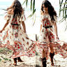 Women Summer Vintage Boho Long Maxi Evening Party Beach Dress Floral Sundress UK