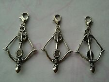 3 Pcs Tibetan Silver Crossbow clip on Charms