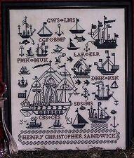 SALING SHIPS SAMPLER-CROSS STITCH CHART-ROSEWOOD MANOR