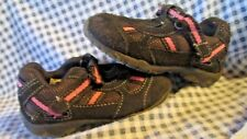 Girl's Circo Brown & Pink Leather & Mesh Velcro Mary Jane  Shoes Size 5 EUC