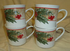 Set 4 GIBSON Tan Band Ivory Holly Berries Christmas Holiday Mug Cup Tea Coffee