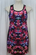 Rampage Dress Sz L Pink Black Multi Floral Sleeveless Cutout Back Cocktail Dres