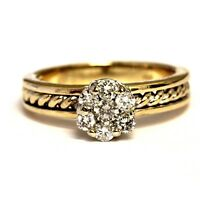 10k yellow gold .34ct SI2 H diamond cluster ring 4.8g estate vintage womens