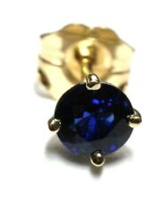 14k yellow gold 0.46ct blue sapphire round stud earring one single individual