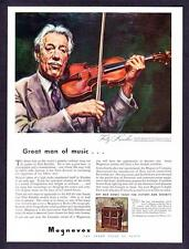 "1943 Violinist Fritz Kreisler portrait ""Great Man of Music"" Magnavox Radio Ad"
