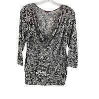 Vince Camuto Black White Floral Draped Neckline Blouse Womens Size Large Stretch