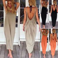Women Long Maxi Dress Loose Backless Summer Beach Evening Party Vintage Sundress
