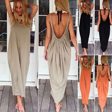 Women Boho Long Maxi Dress Loose Backless Summer Party Evening Vintage Sundress