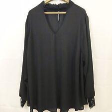 Torrid Women's Blouse Size 4 Black Lace Trim Georgette Cutout Neck Top Keyhole