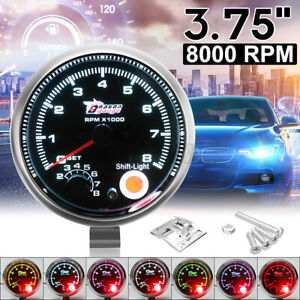 3.75'' Car Truck Tachometer Tacho Gauge Meter 0-8000 RPM W/ LED Shift Light