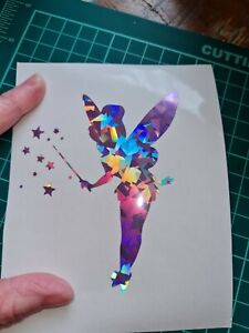 Disney tinkerbell Sticker Decal Vinyl Glass Car. Holographic sparkle