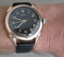 Gents Ural 43387 Soviet wrist watch in rose gold plated aluminum diam 39.7 mm