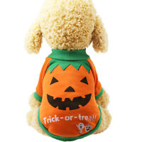 CUTE PET PUPPY DOG HALLOWEEN PUMPKIN WITCH T-SHIRT SOFT CLOTHES COSTUME JACKET