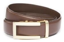 Anson Belt & Buckle. Mens traditional gold buckle chocolate brown leather strap
