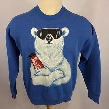 Vintage 80s 90s Coca Cola Pop Soft Drink Polar Bear Ski Snowboard Sweatshirt