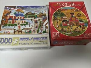 LOT OF 2 USED JIGSAW PUZZLES. WINTER SNOW SCENE COUNTRY BITS AND PIECES