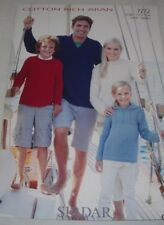 Family Sweaters for Sirdar Cotton Rich Aran Yarn Knitting Pattern 7272